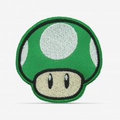Patch Bordado Cogumelo Verde 1Up do jogo de videogame Mário com termocolante 6,4x6,4cm PATCH GANG