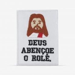 """Patch Bordado """"Deus abençoe o rolê"""" com figura de Jesus, com termocolante 6,3x8,3cm da PATCH GANG"""