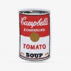 Patch Bordado Sopa Campbell's do artista Andy Warhol, com termocolante 5,6x9cm da PATCH GANG
