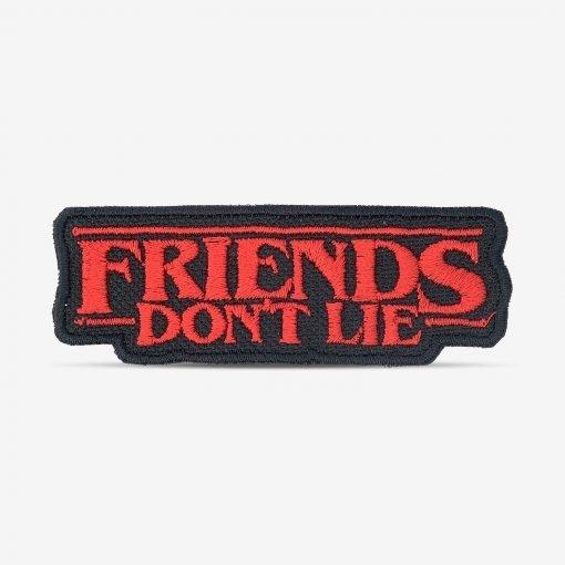 """Patch Bordado """"Friends don't lie"""" da série Stranger Things, com termocolante 8,5x3cm PATCH GANG"""