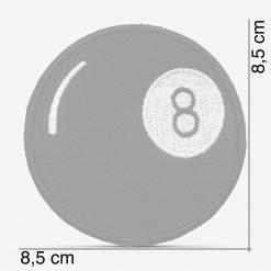 Patch Bordado Bola 8 de sinuca, com termocolante 8,5x8,5cm da PATCH GANG