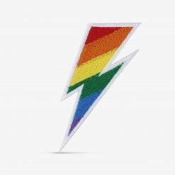 Patch Bordado Raio David Bowie com Bandeira LGBT, com termocolante 5,4x8,5cm da PATCH GANG