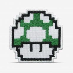 Patch Bordado Cogumelo Verde 1Up Pixel videogame Mário com termocolante 6,5x6,5cm da PATCH GANG