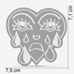 Patch Bordado Coração Chorando, modinha, com termocolante 7,5x7,1cm da PATCH GANG