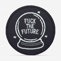 "Patch Bordado Bola de cristal ""F*uck the Future"" com termocolante 8,5x8,5cm da PATCH GANG"