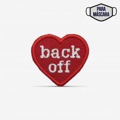 """Patch Bordado pequeno, coração """"back off"""", afaste-se, com termocolante 3,5x3,1cm da PATCH GANG"""