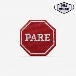 "Patch Bordado pequeno placa de trânsito ""PARE"", com termocolante 3,5x3,5cm da PATCH GANG"